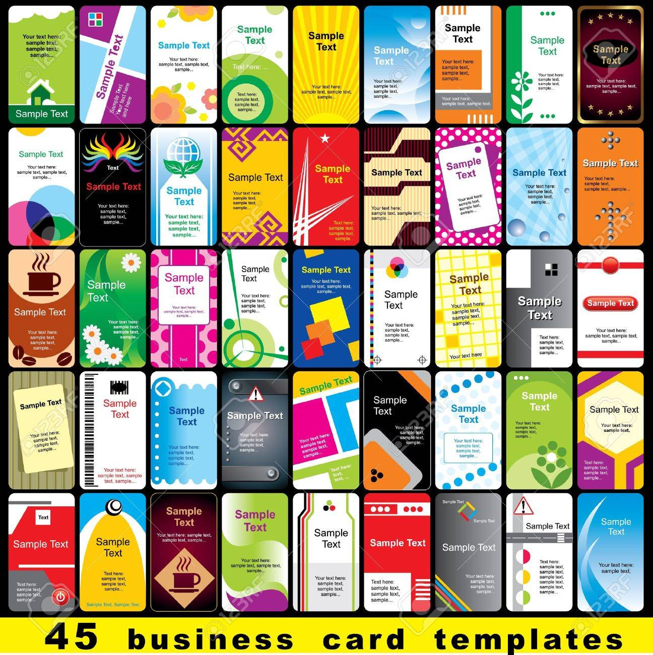 45 color template for vertical business cards royalty free 45 color template for vertical business cards stock vector 13508424 spiritdancerdesigns Choice Image