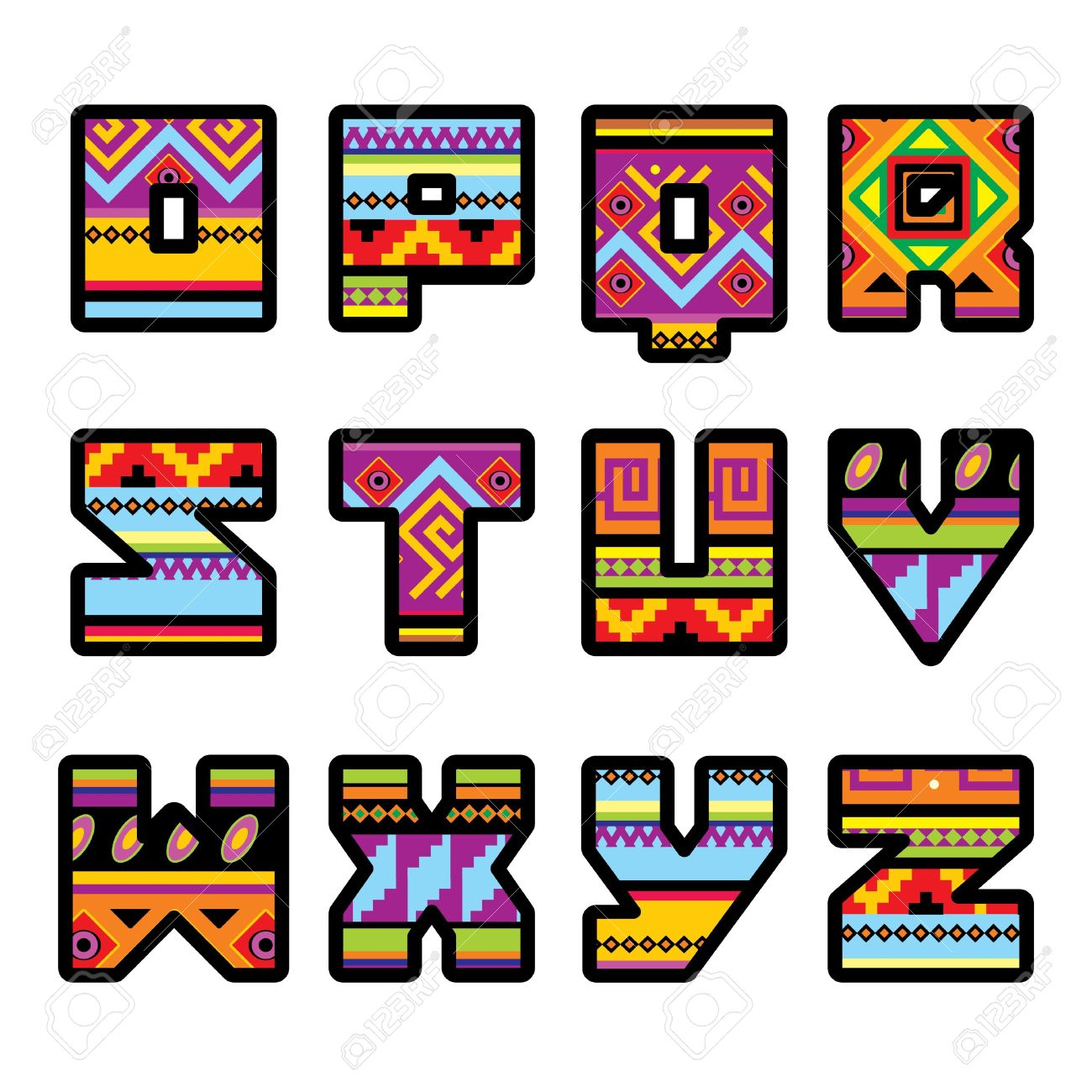 set of letters with the design of a Mexican style (part 2) Stock Vector - 14765757