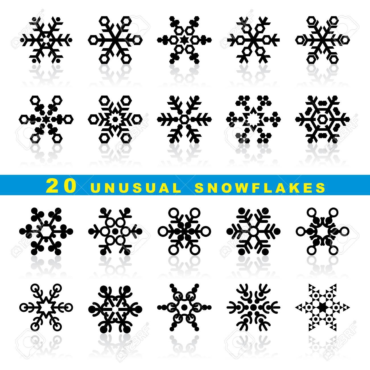 set vector icons of decorative geometric snowflakes Stock Vector - 16332288