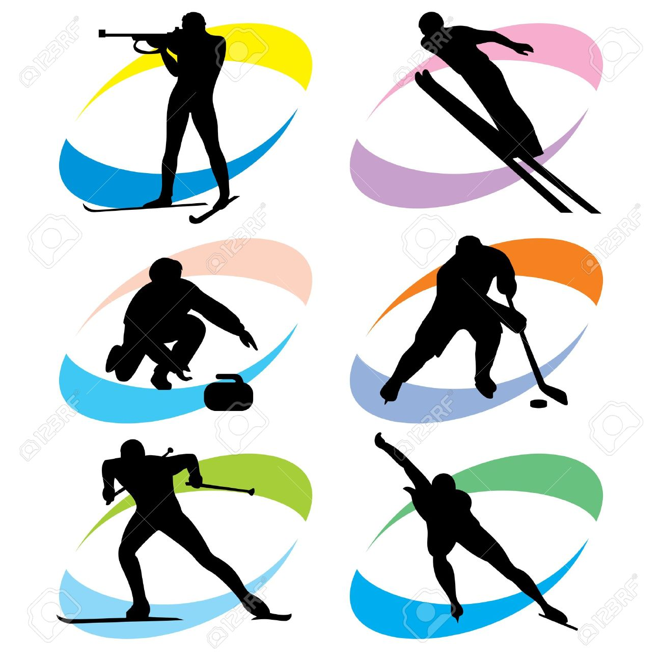 set of silhouette icons of the winter sport Stock Vector - 17386245