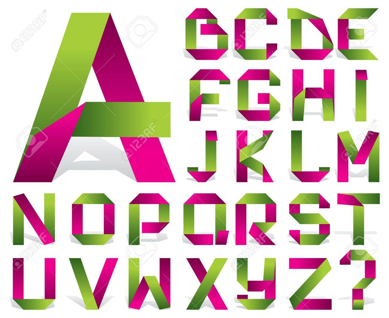 Vector Alphabet Of Folded Color Tape Royalty Free Cliparts, Vectors ...