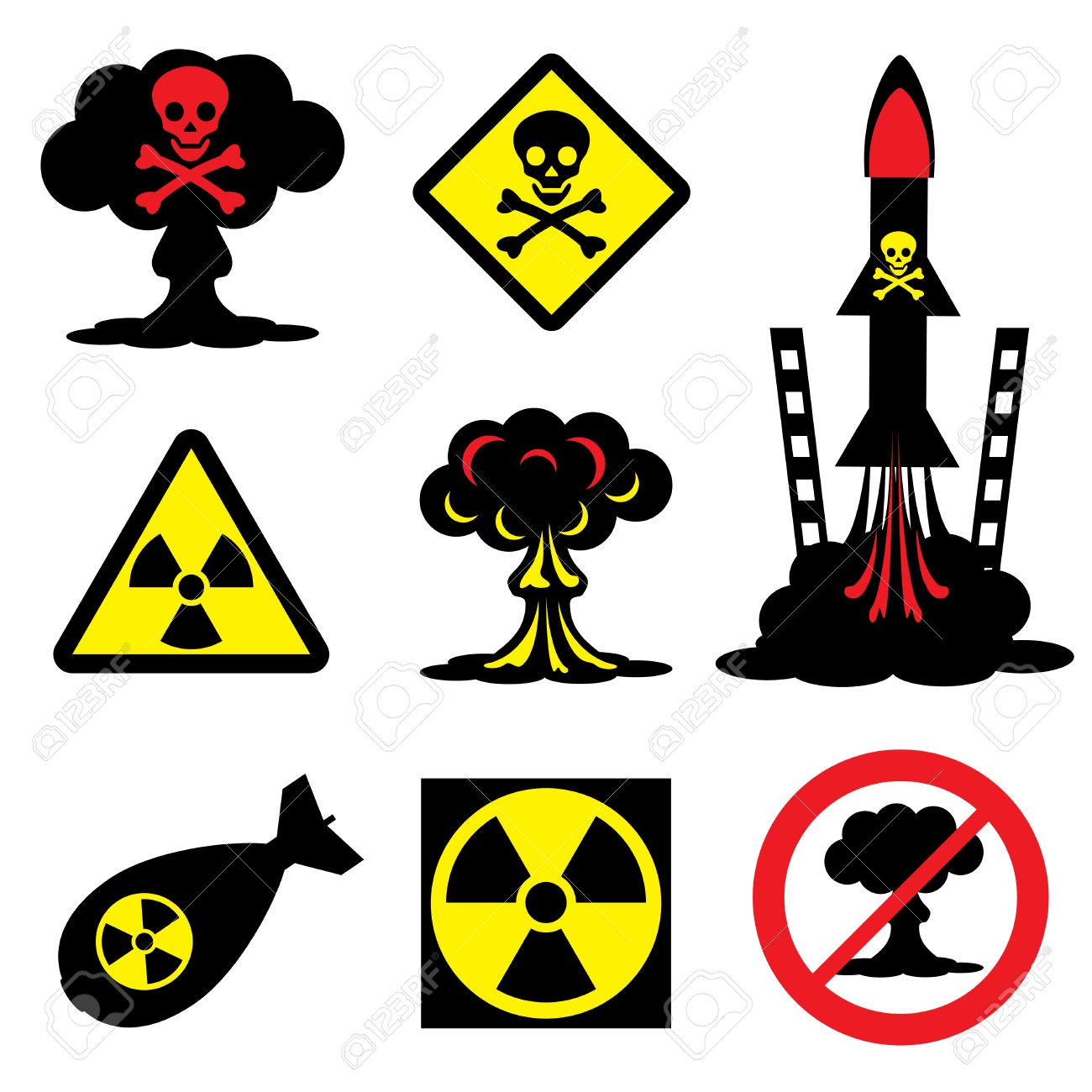 set vector icons of radiation hazard and nuclear weapons Stock Vector - 19049448