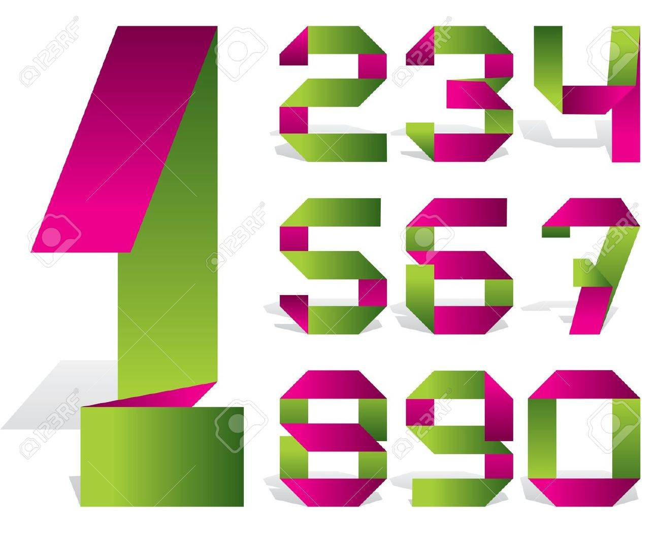 Vector Numbers Of Folded Color Tape Royalty Free Cliparts, Vectors ...