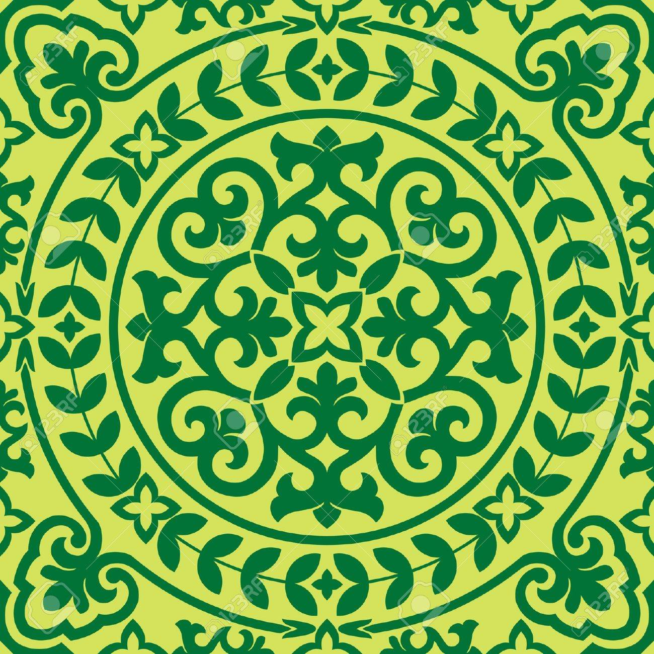 seamless background with green asian  ornament Stock Vector - 20689989