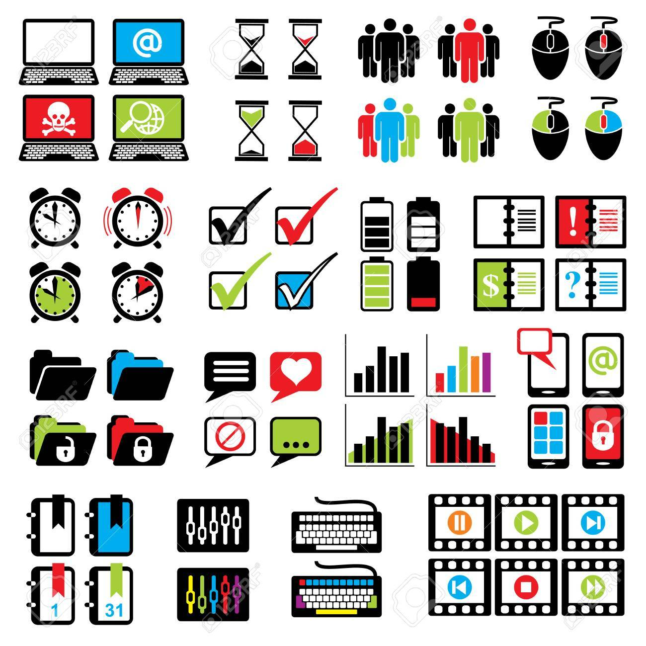 Set Vector Icons Of Computer Sign And Symbols For Web Design Royalty