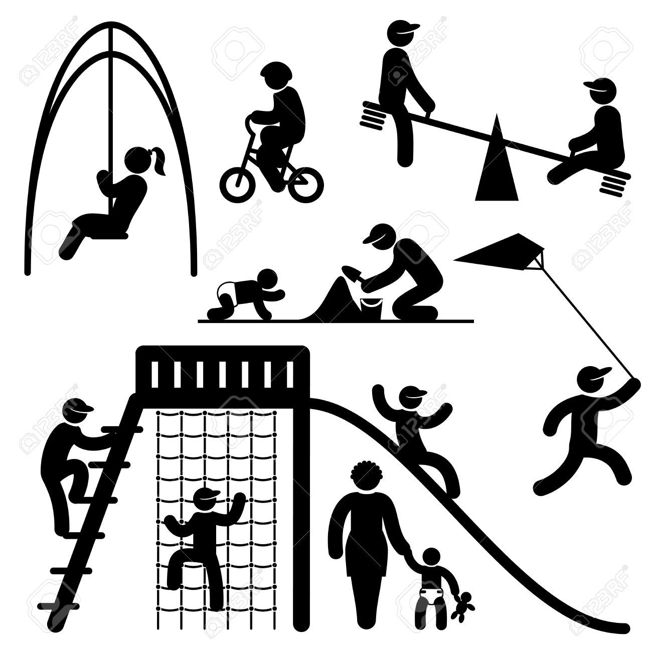 set black and white vector icons of people on children playground
