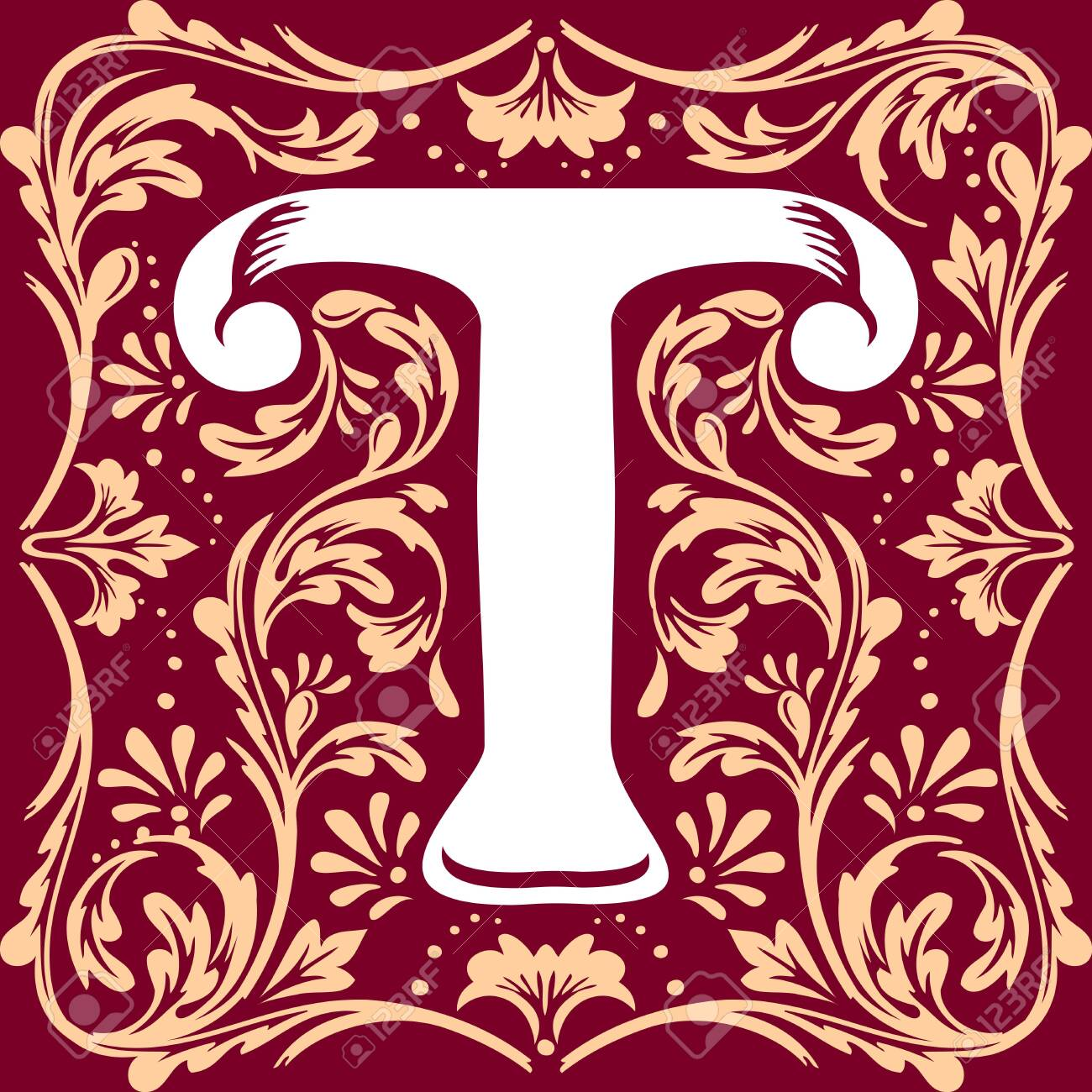 letter T vector image in the old vintage style - 135407882