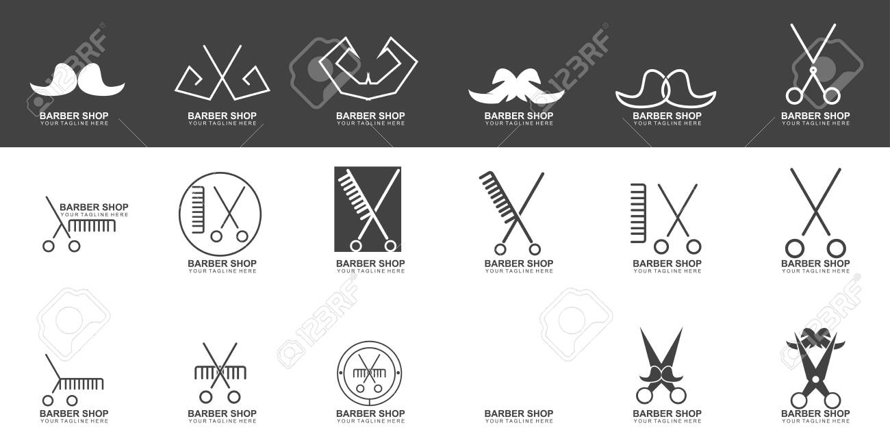 Set Of Modern Hair Salon Logo Design Scissors Icon Modern Design Royalty Free Cliparts Vectors And Stock Illustration Image 146092855