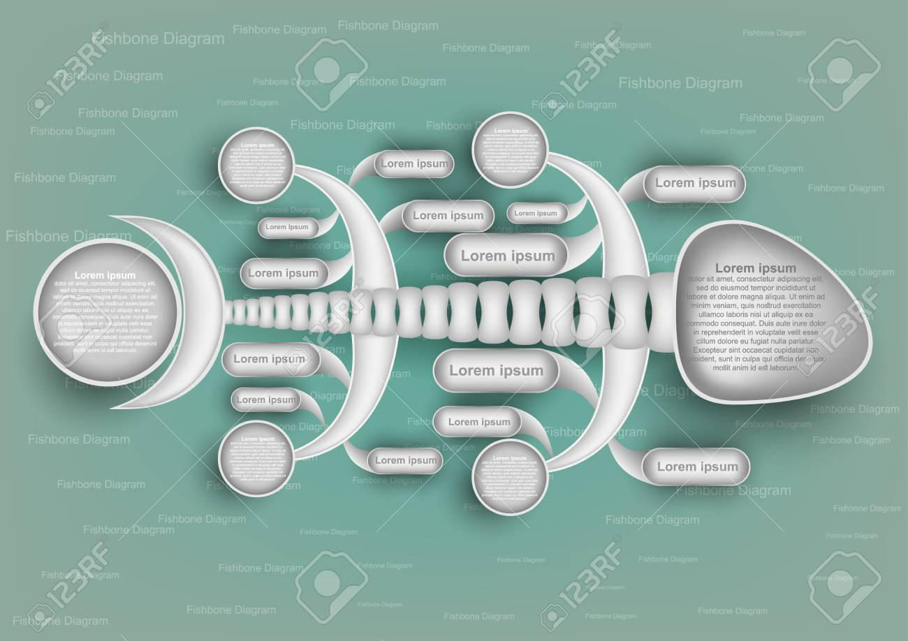 colorful fishbone diagram analysis chart. Business problem solving chart and template for team brainstorming in company. Vector EPS10 - 89541414