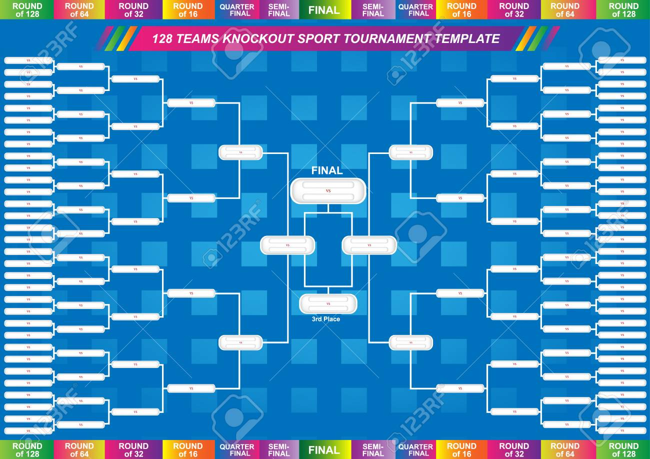 Sport fixture and result template for final round 128 teams knockout