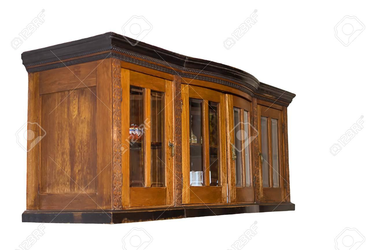 Mueble De Cocina De Madera Marrón Vieja Suspendido. Vista Lateral ...