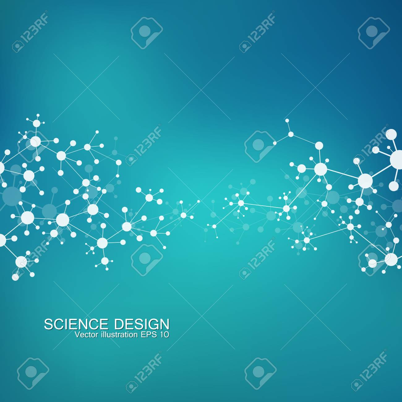 Structure molecule of DNA and neurons. Structural atom. Chemical compounds. Medicine, science, technology concept. Geometric abstract background. Vector illustration for your design - 61658580