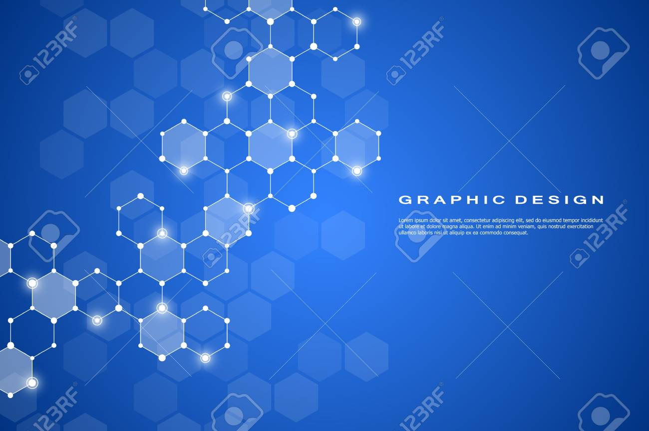 Abstract hexagonal molecule background, genetic and chemical compounds system. Geometric graphics and connected lines with dots. Scientific and technological concept, vector illustration. - 88325207