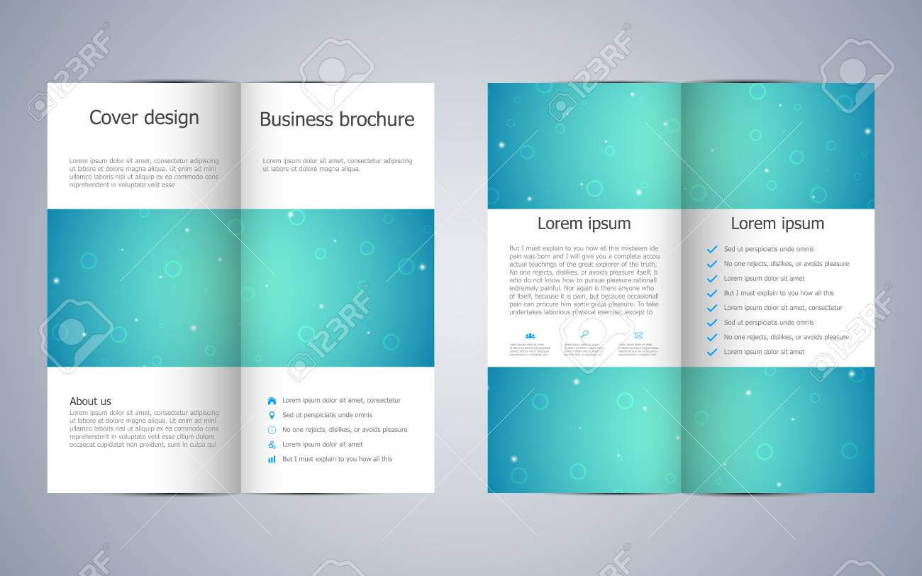 Bi Fold Business Brochure Template With Molecular Design Vector