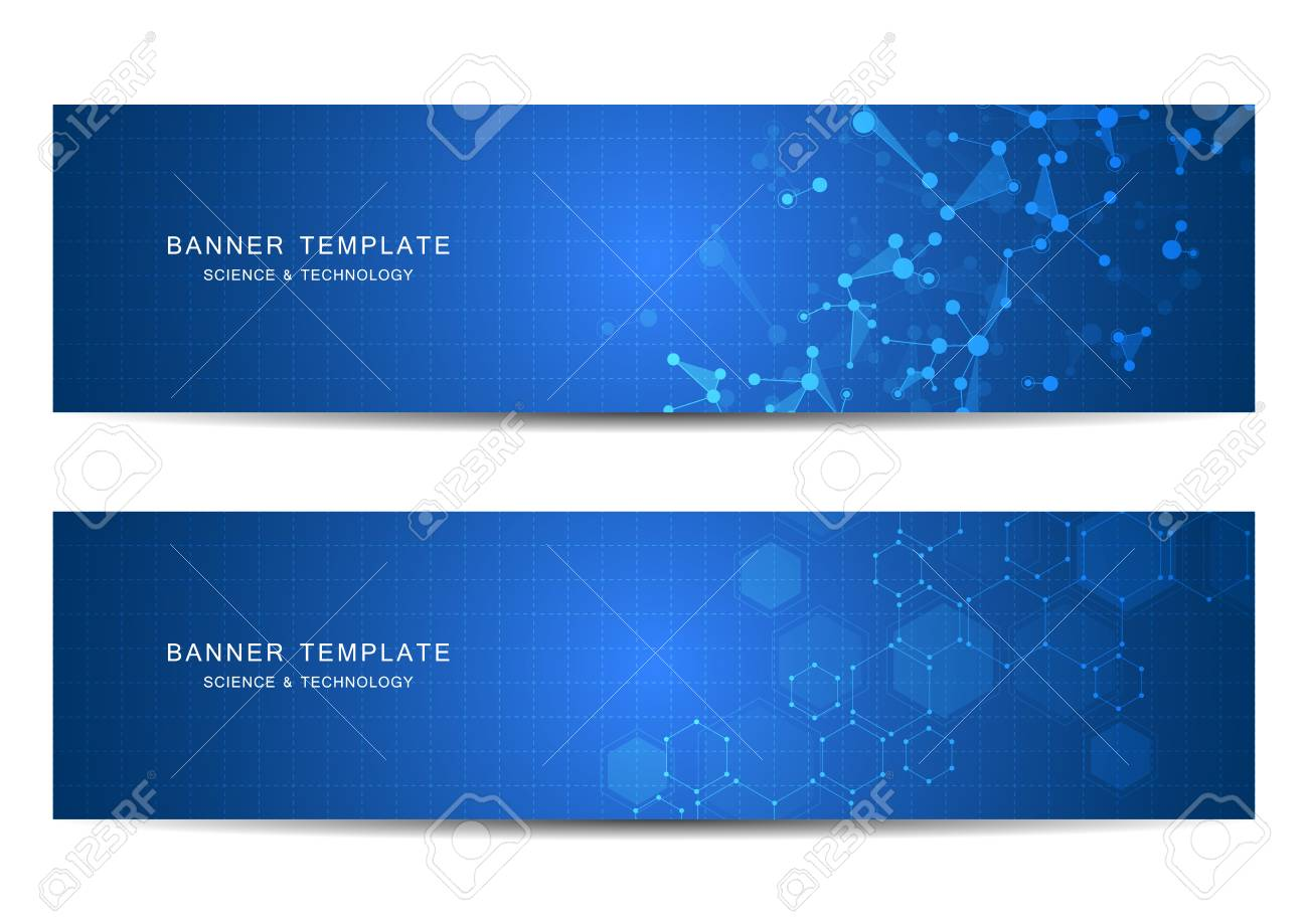 Technological and scientific banners with molecular structure background. Vector illustration. - 97548251