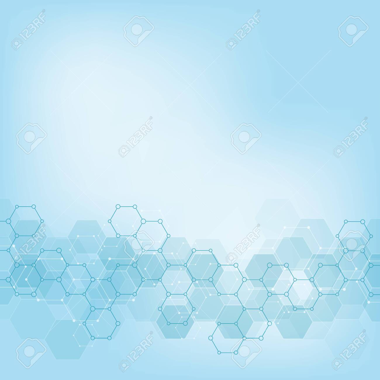 Geometric background texture with molecular structures and chemical engineering. Abstract background of hexagons pattern. Vector illustration for medical or scientific and technological modern design. - 135778474