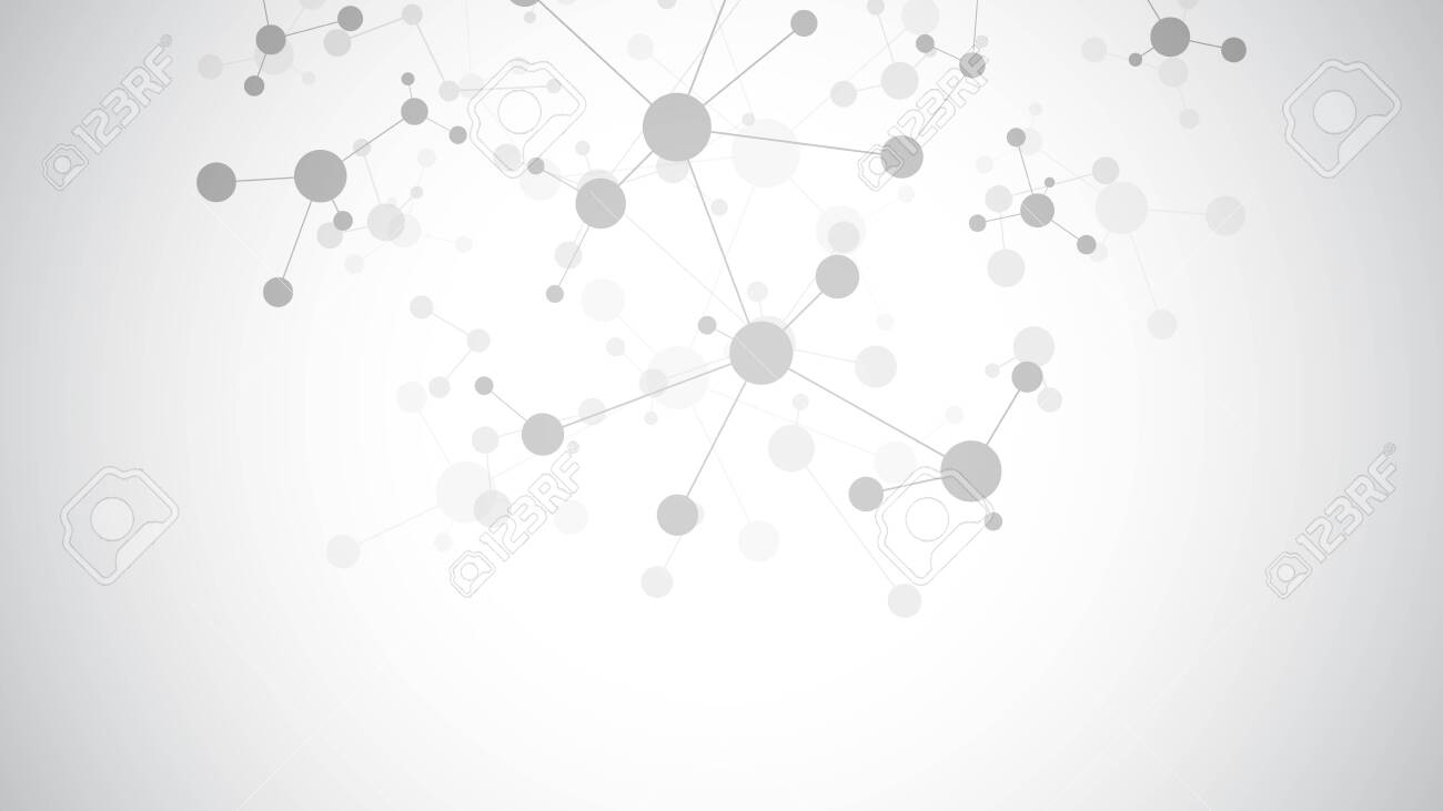 Abstract background of molecules. Molecular structures or DNA strand, genetic engineering, neural network, innovation technology, scientific research. Technological, science and medicine concept. - 140312908