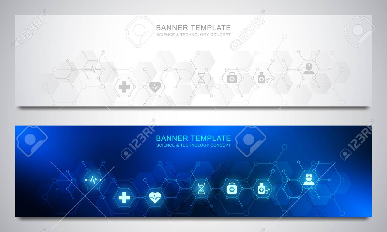 Banners design template for healthcare and medical decoration with flat icons and symbols. Science, medicine and innovation technology concept. - 147230112
