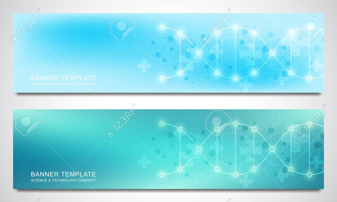 Banners and headers for site with DNA strand and molecular structure. Genetic engineering or laboratory research. Abstract geometric texture for medical, science and technology design. - 148066079