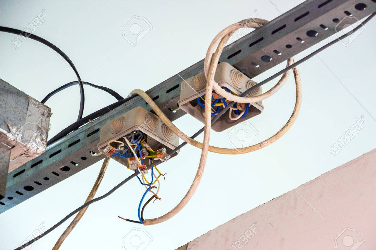 Exposed Wiring Code Smart Diagrams Outdoor Electrical With Wires Violation Stock Photo Rh 123rf Com Wire Types And Sizes