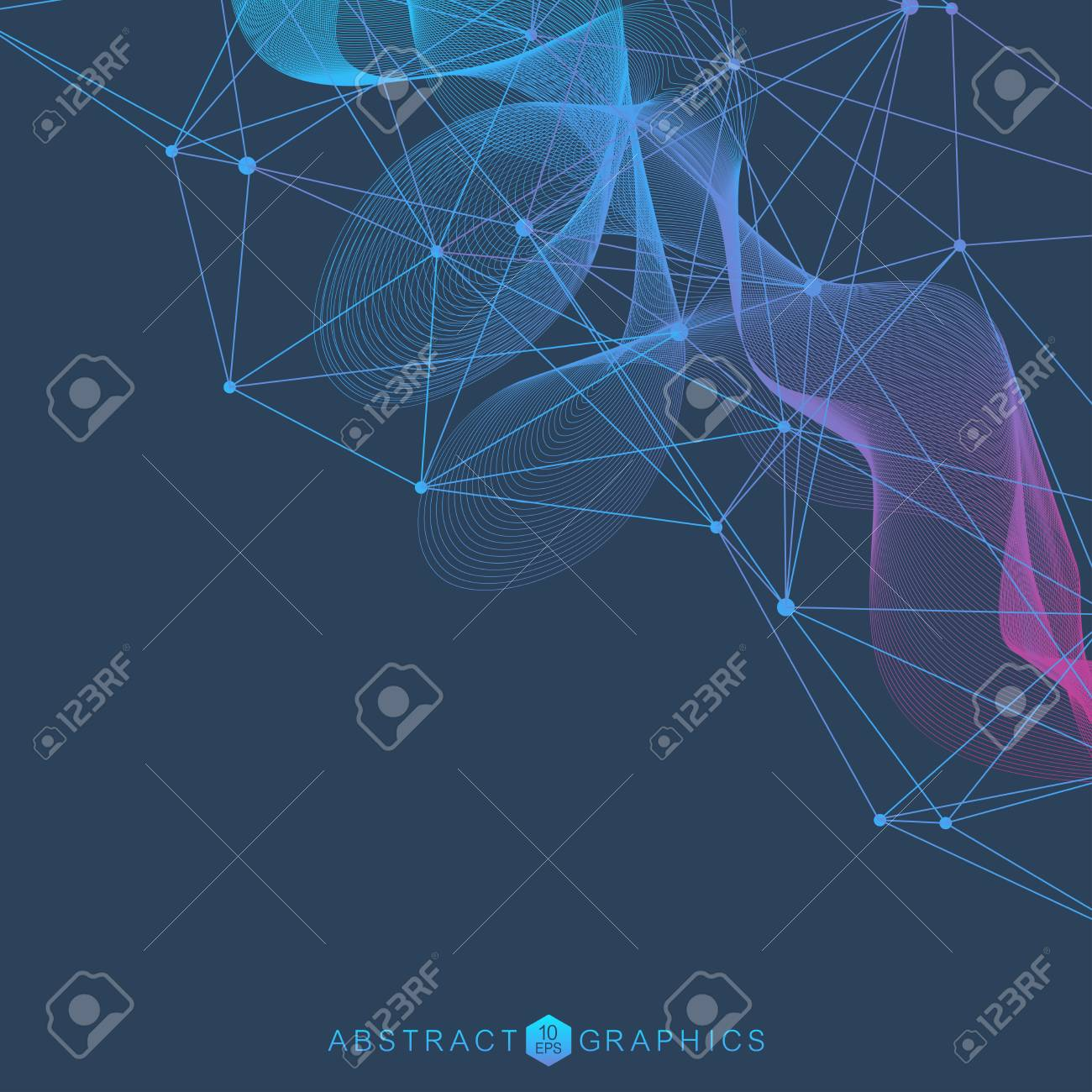 Geometric abstract background with connected line and dots. Structure molecule and communication. Scientific concept for your design. Medical, technology, science background. Vector illustration. - 100776755