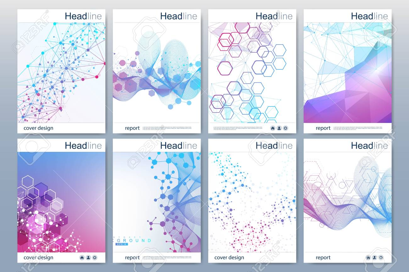 Business templates brochure, magazine, leaflet , flyer, cover, booklet, annual report. Scientific concept for medical, technology chemistry Hexagonal molecule structure Dna atom neurons. - 110271994