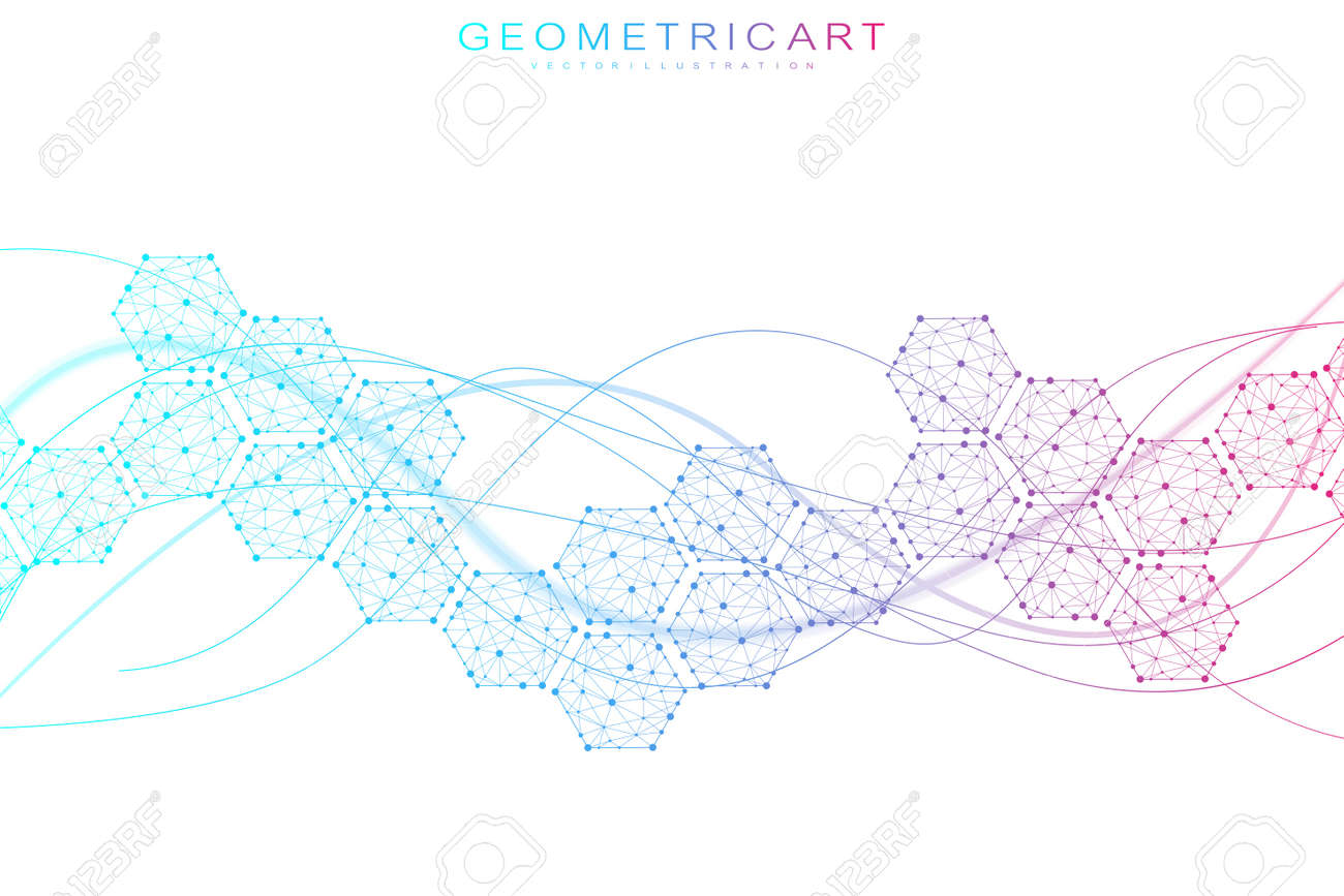 Hexagonal abstract background. Big Data Visualization. Global network connection. Medical, technology, science background. Vector illustration. - 148415348