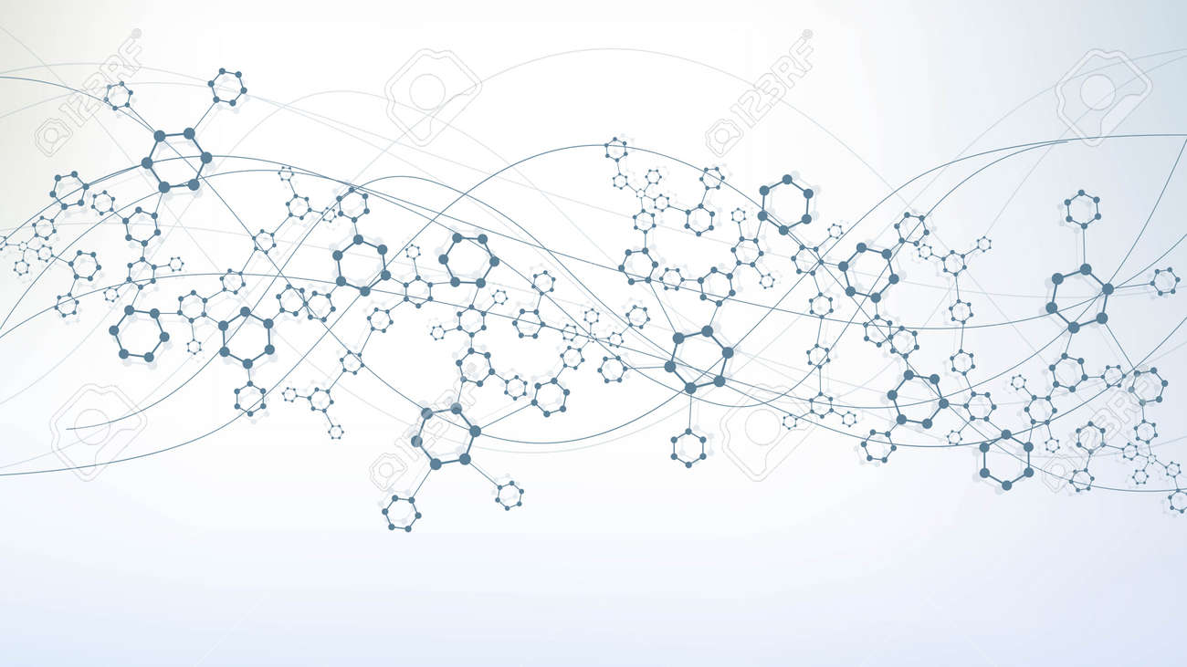 Science network pattern, connecting lines and dots. Technology hexagons structure or molecular connect elements. - 155776623