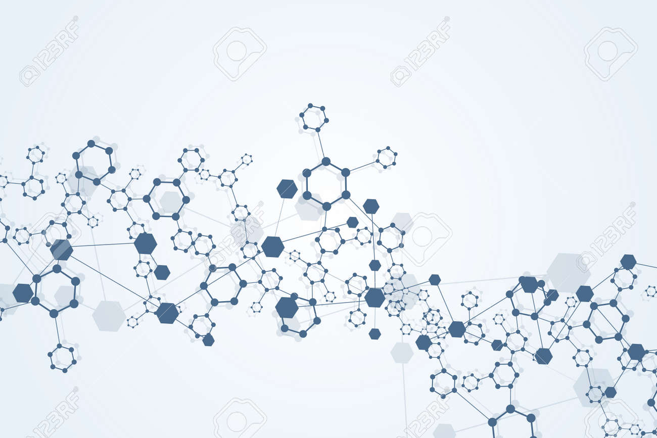 Structure molecule and communication. Dna, atom, neurons. Scientific concept for your design. Connected lines with dots. Medical, technology, chemistry, science background. Vector illustration - 166200884