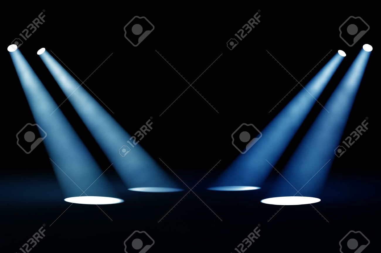 Abstract dark background with bright blue stage spotlights Stock Photo - 13368640