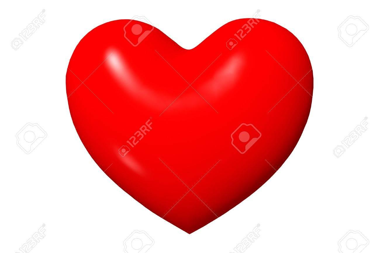 Grand Coeur Rouge En 3d Dessin Anime Isole Sur Fond Blanc Banque D