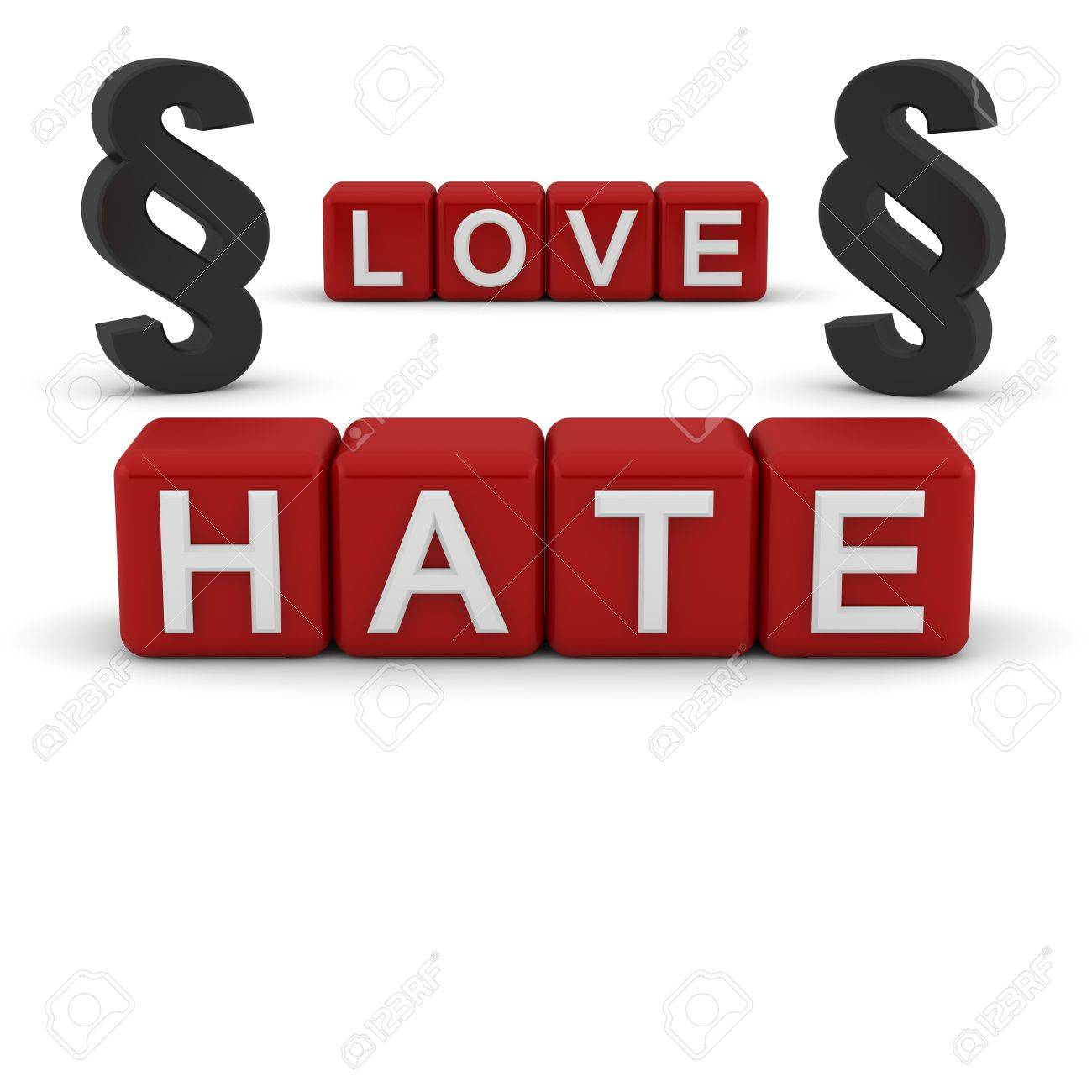 3D red blocks with the text love and hate with the section signs Stock Photo - 13499842