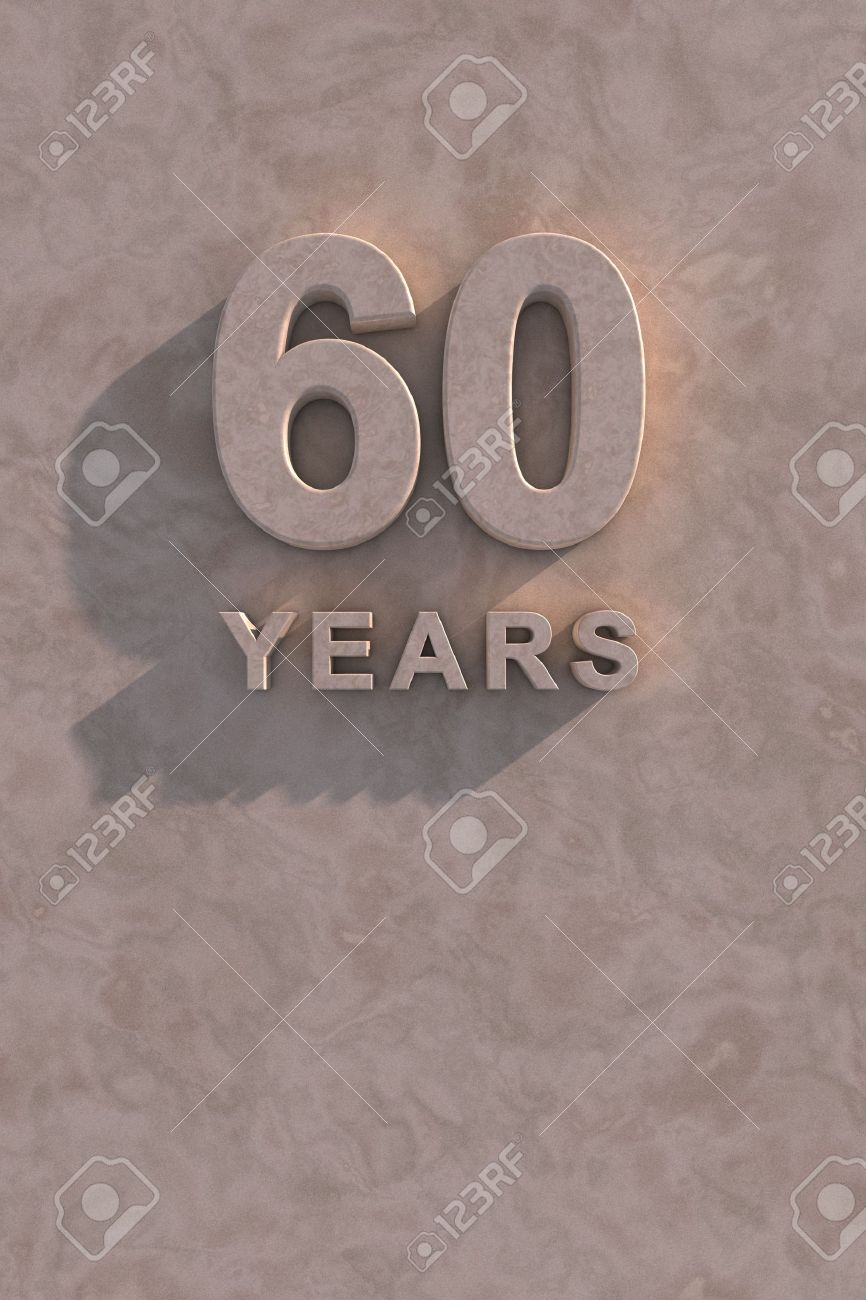 60 years 3d text with shadow and copy space Stock Photo - 13500081