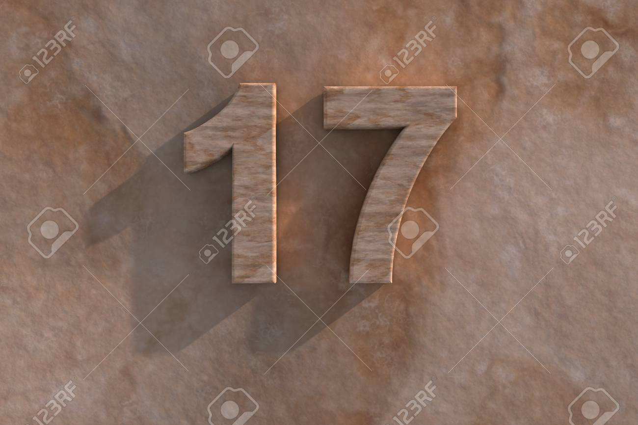 Number 17 embossed or carved from marble placed on a matching marble base Stock Photo - 13588217