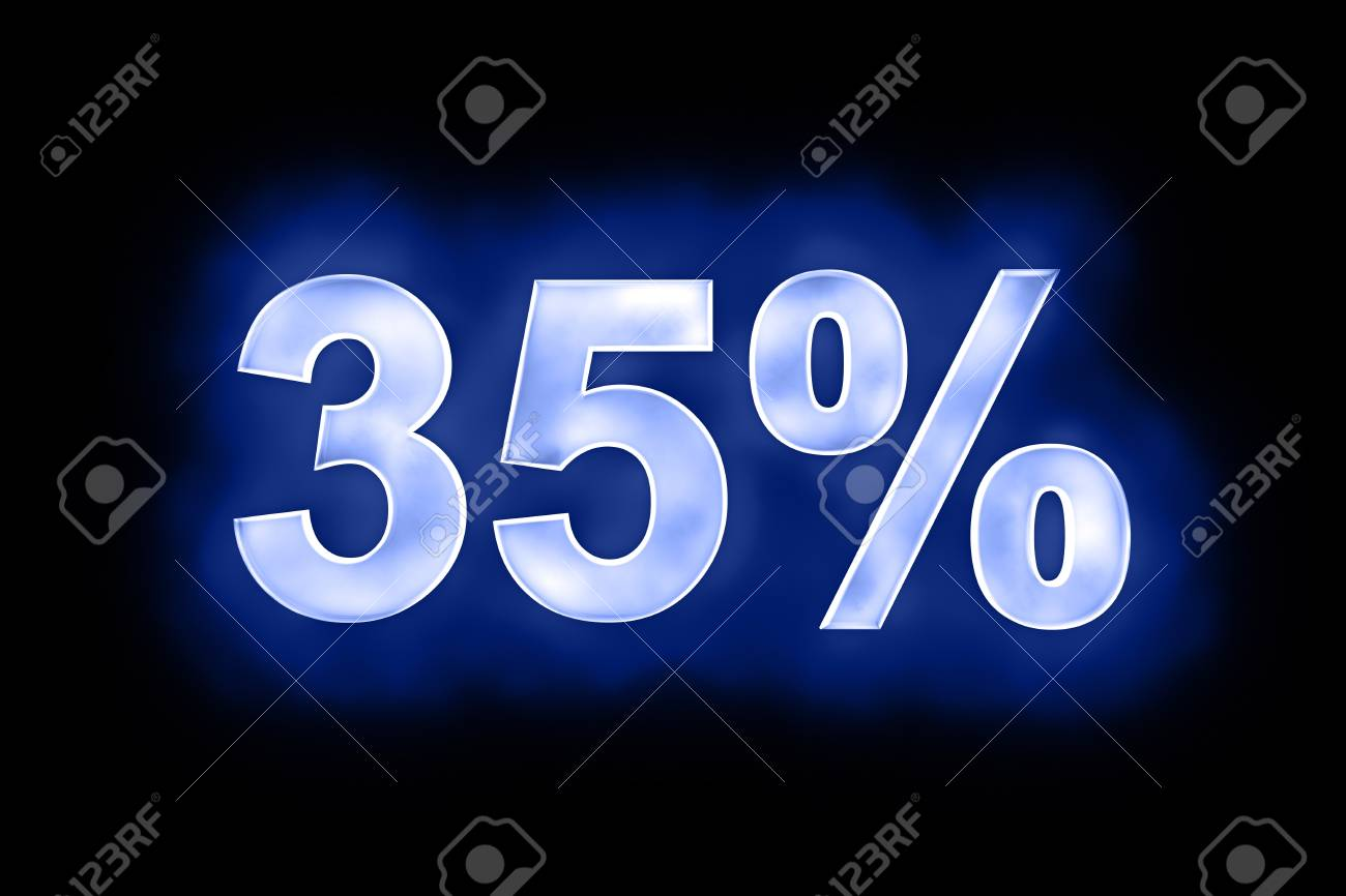 3d illustration of 35 percent in glowing mottled white numerals on a blue background with a black surround Stock Photo - 13663633