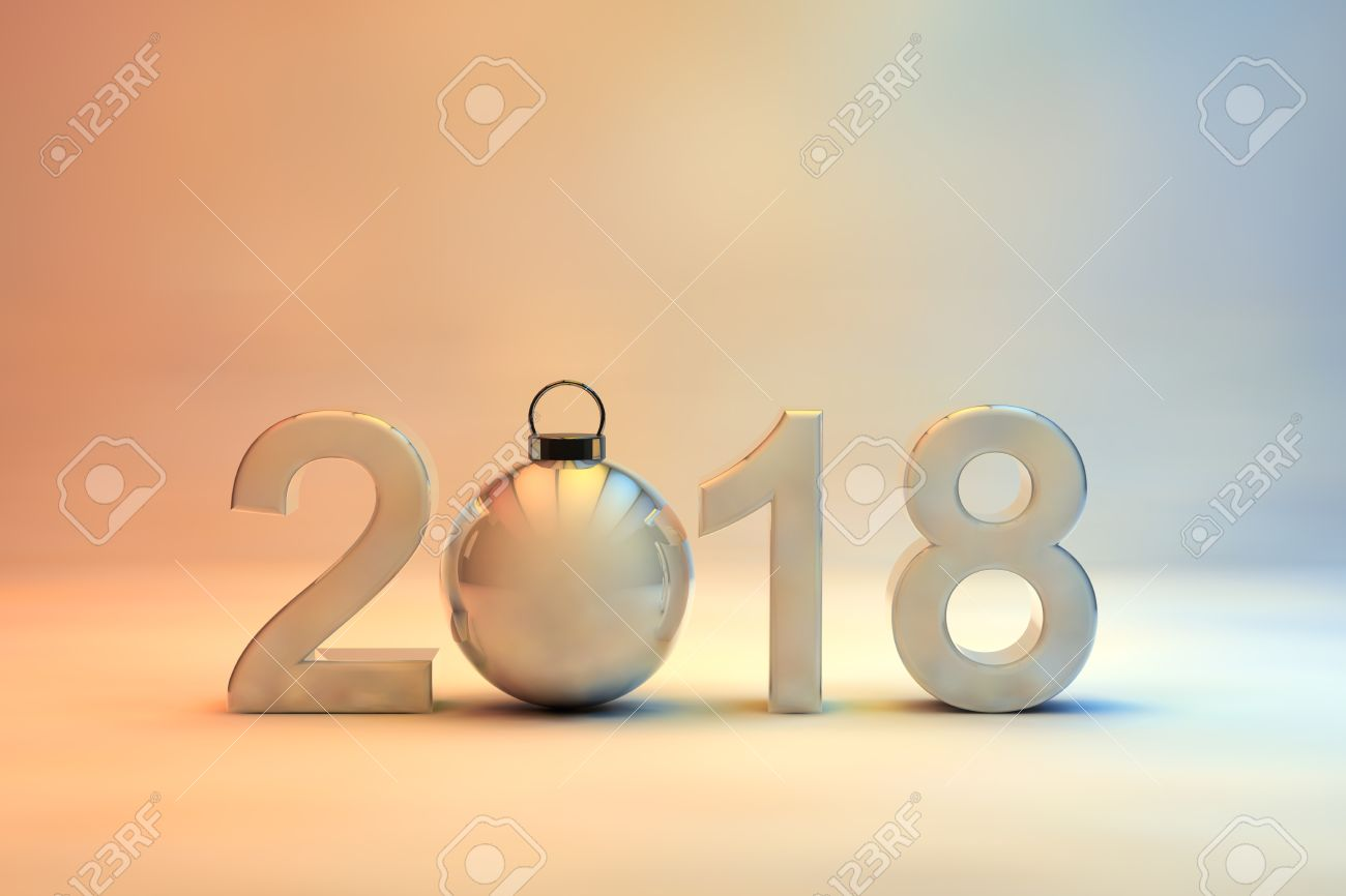2018 New Year Date In 3d Numerals Incorporating A Shiny Christmas ...
