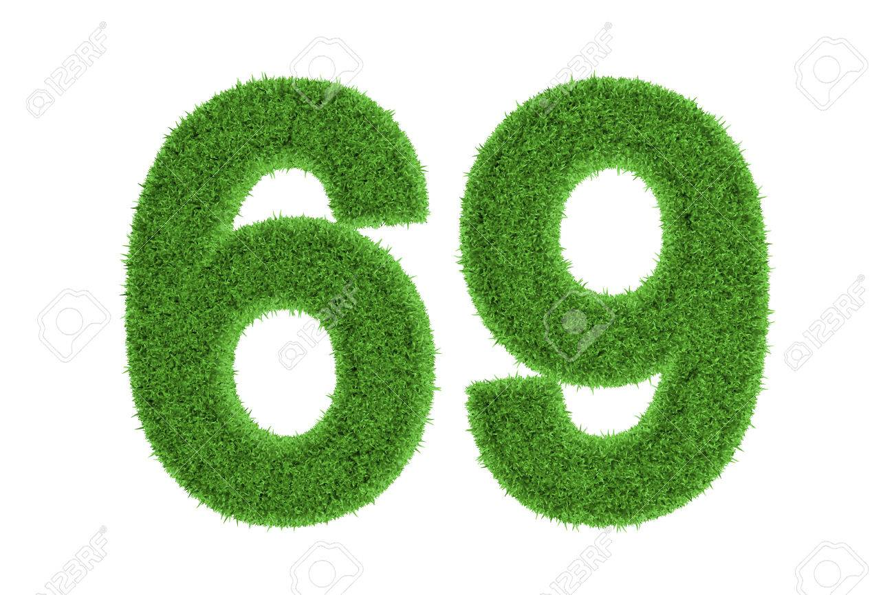 Green Eco Friendly Symbol Of Number 69 Sixty Nine Filled With