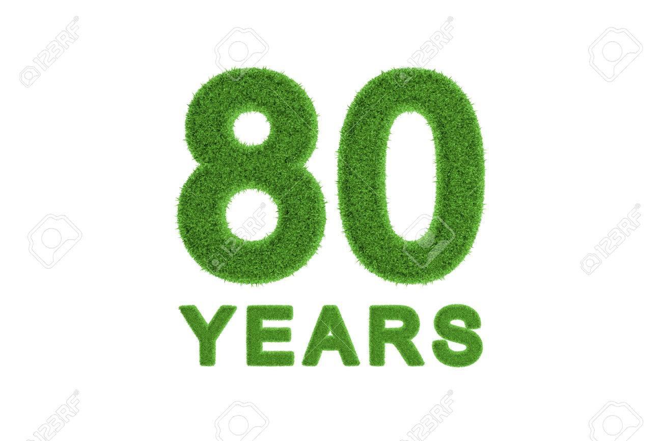 Números Decorativos Respetuosos Del Medio Ambiente En Tres Dimensiones Verde Hierba Y Texto Para Un 80 Aniversario O Celebración De Cumpleaños