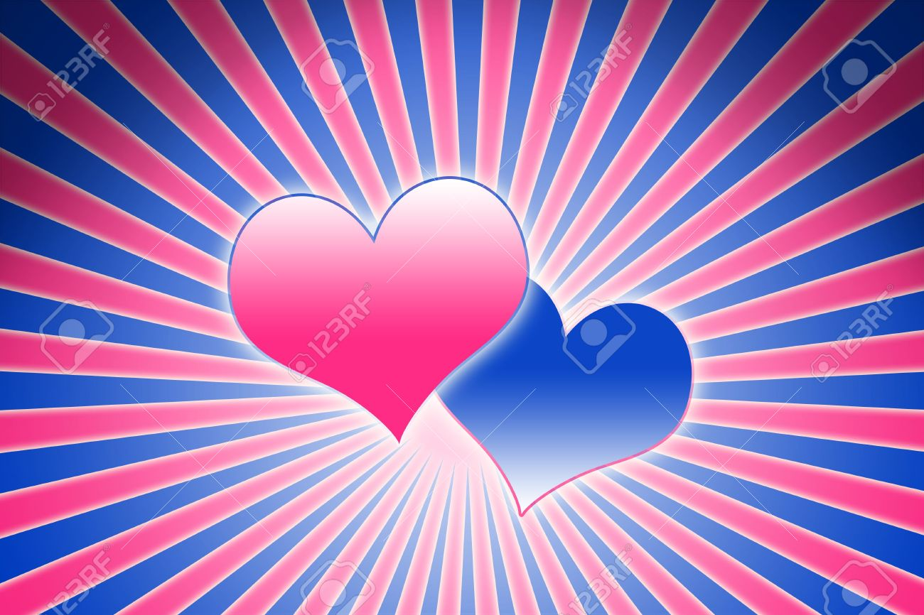 lovely pink and blue heart background composition stock photo