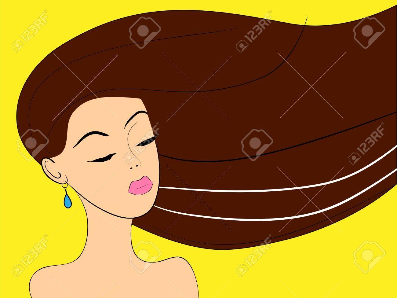 beautiful woman face lying down vector illustration Stock Vector - 18572970