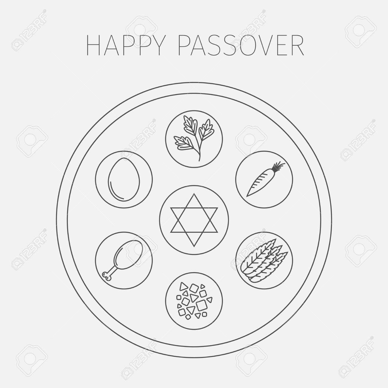 Passover Seder Plate With Line Icons Vector Stock Photo Picture