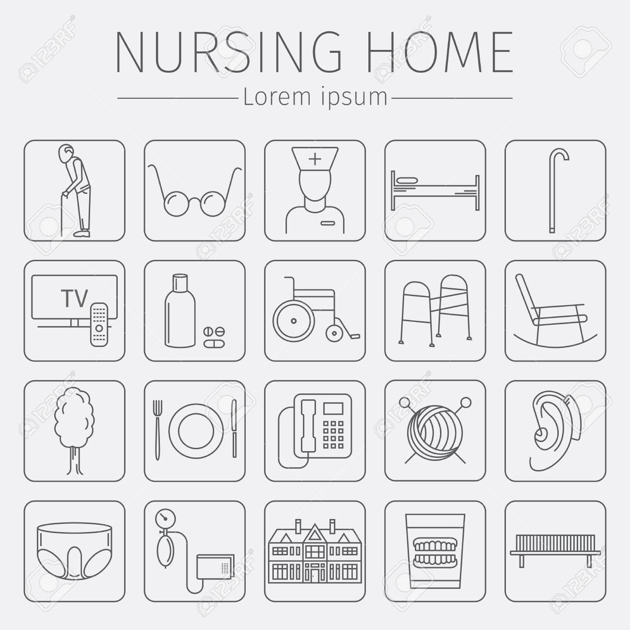 Nursing home line icon medical care for the elderly symbols nursing home line icon medical care for the elderly symbols of older people vector buycottarizona Image collections
