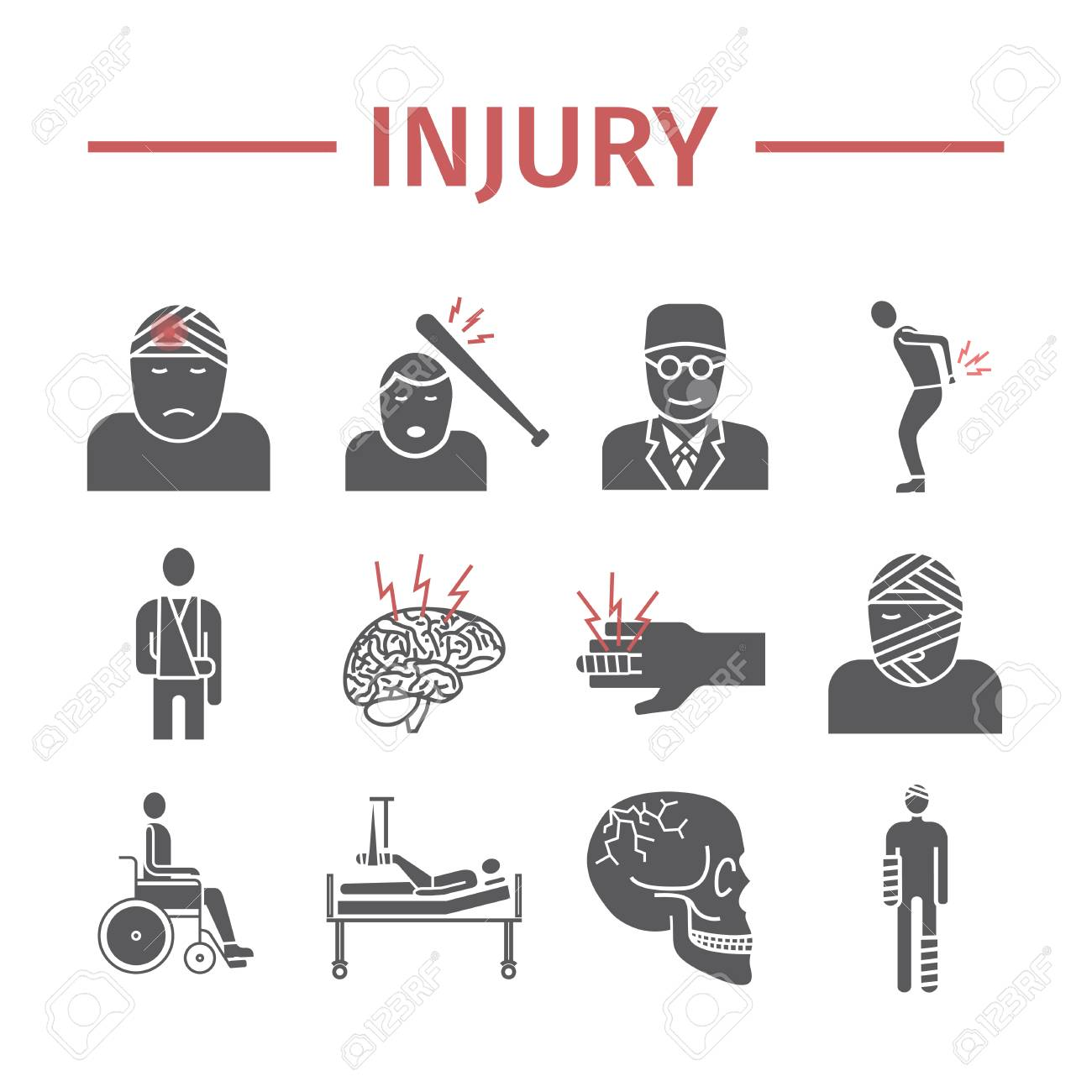 Injury flat icons set  Info graphic Vector signs for web graphics