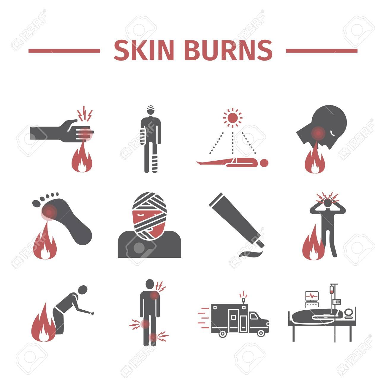Skinl Burns kine icons. Treatment. - 104828108