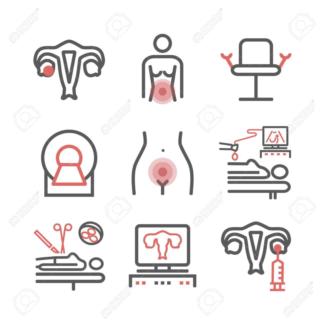 Ovarian Cancer Symptoms Causes Treatment Line Icons Set Royalty Free Cliparts Vectors And Stock Illustration Image 132032856
