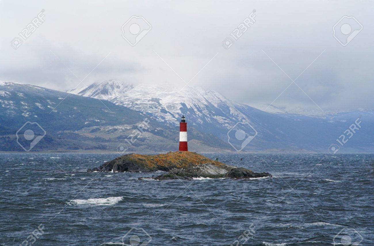 a view of a famous lighthouse on the beagle channel, near of ushuaia tierra de fuego, patagonia - 12743201