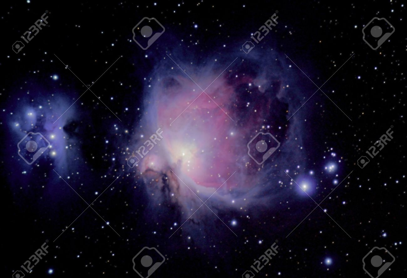 the great orion nebula is a diffuse nebula situated in the constellation of orion, and is visible to the eye - 14799624