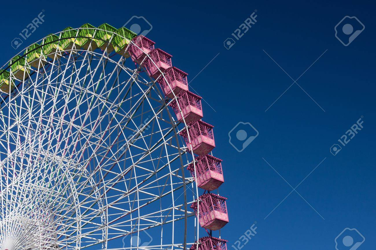ferris wheel isolated on blue, working in the fair of Albacete - 15797705