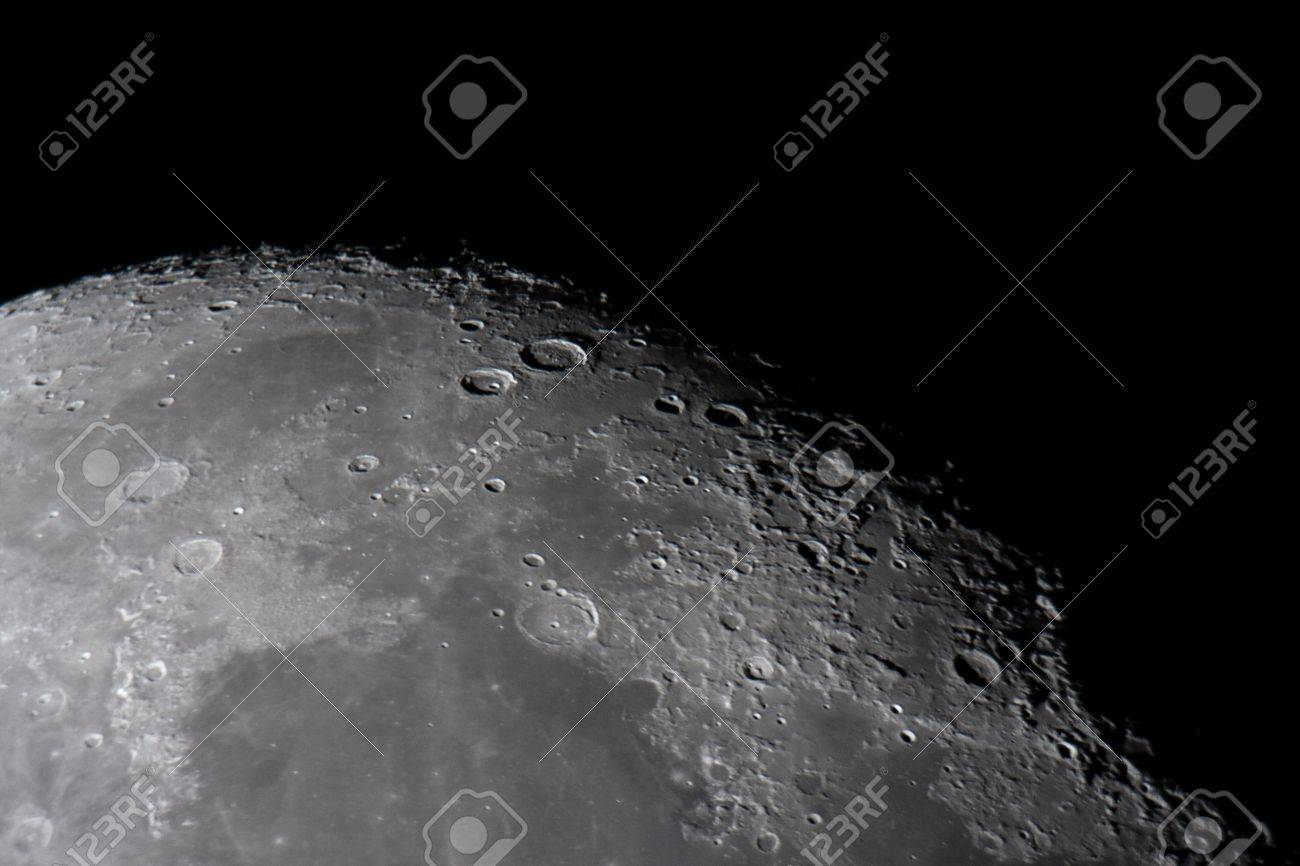 picture of the moon surface by telescope This zone is called terminator, twilight zone or grey - 17475664
