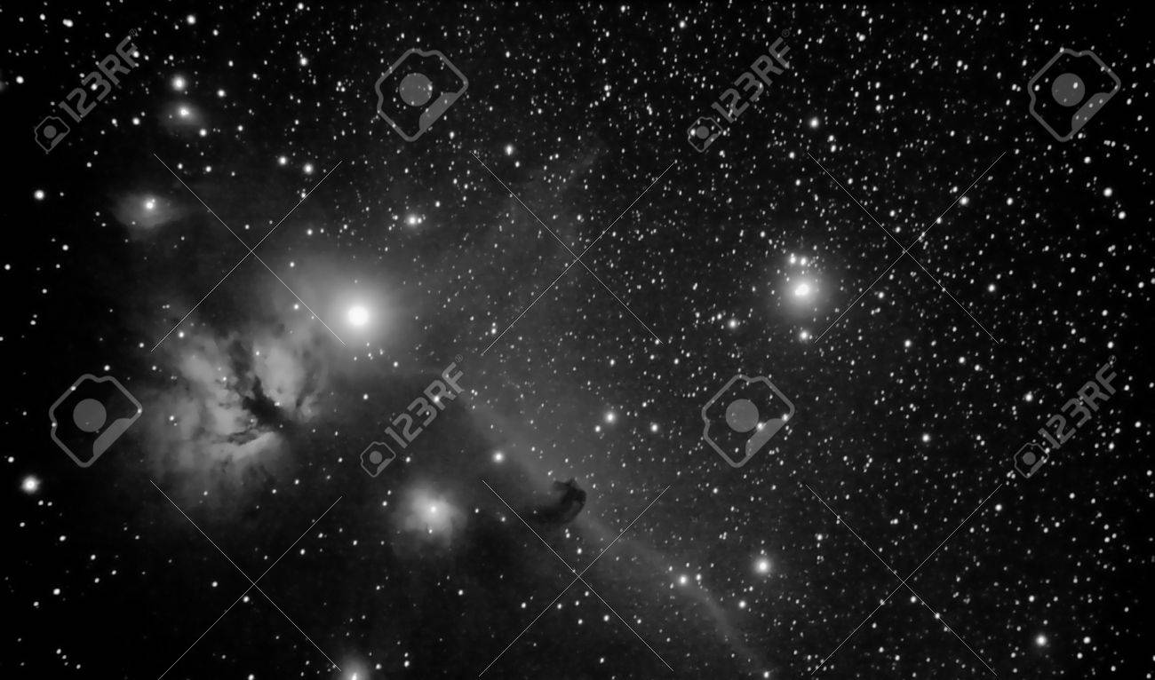 real picture taken by telescope of famous region in orion constellation that includes horsehead and flaming tree nebulaes - 17907256